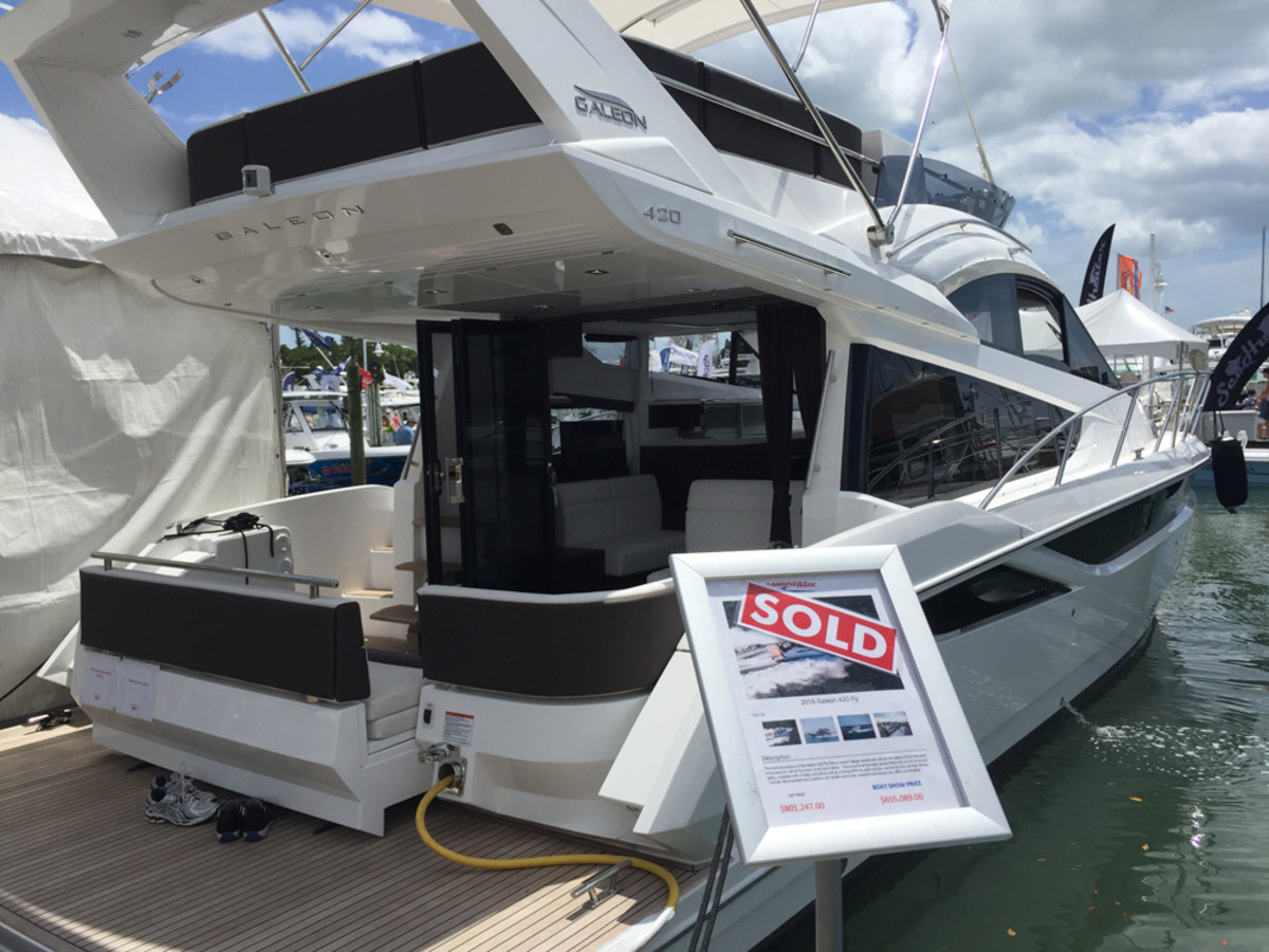 MarineMax sold this Galeon 420 Fly during the first two hours of the three-day weekend show.