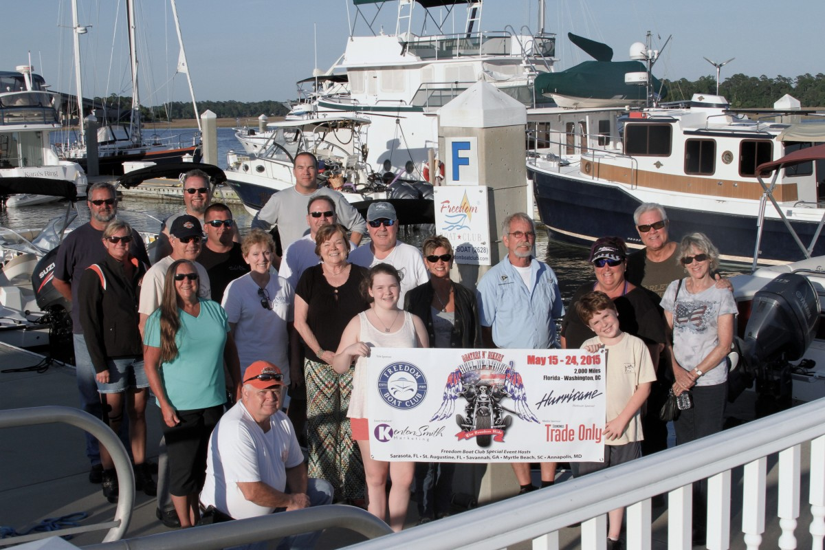 The tour rolled into the Bahia Bleu Marina by Morningstar Marinas for a sunset dinner hosted by Brian and Tom McCarthy of Freedom Boat Club-Savannah, Ga.