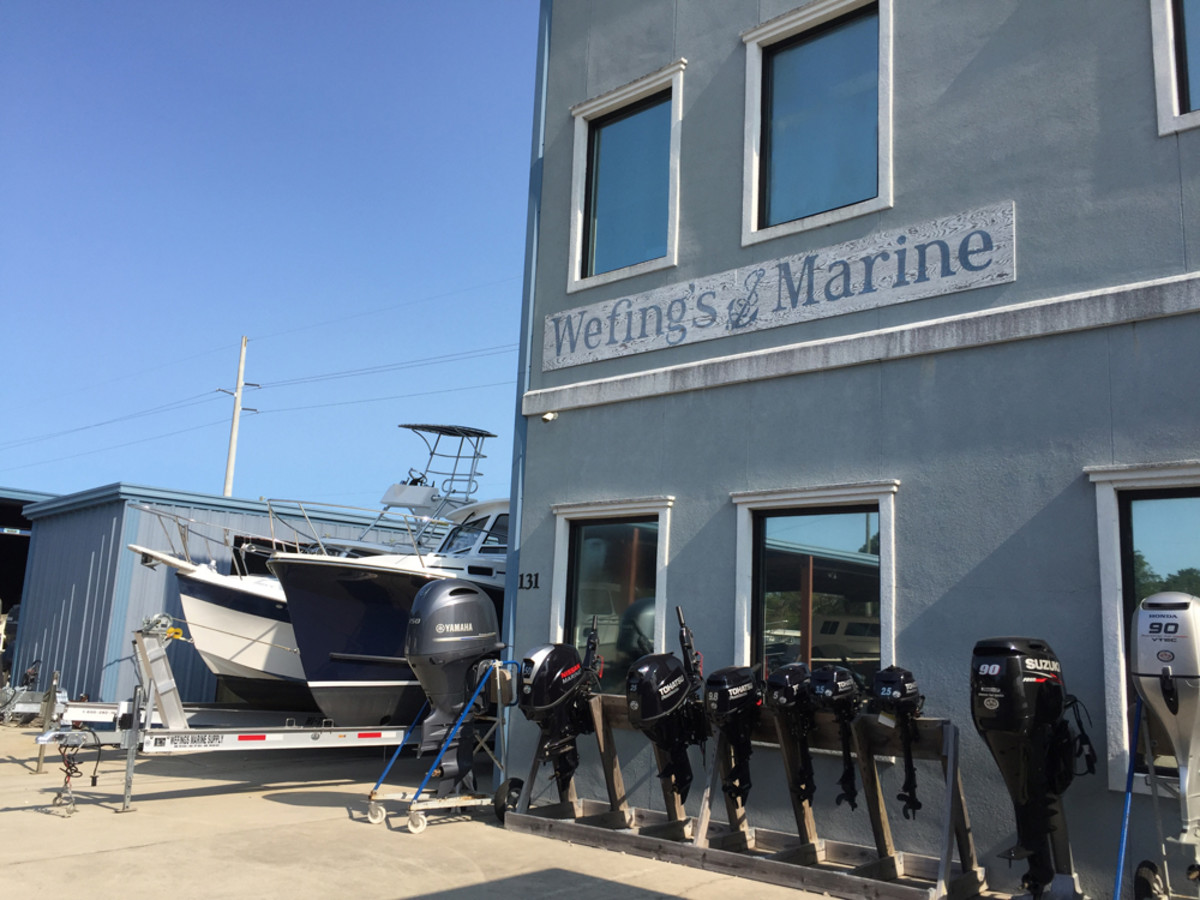 Wefing's sells and services four brands of outboards and carries several bay boats and skiffs.