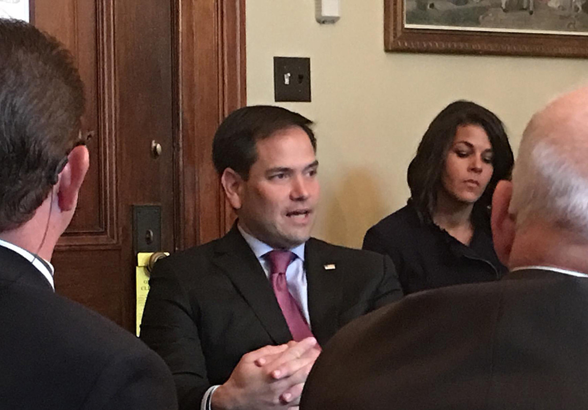 U.S. Sen. Marco Rubio, R-Fla., met Wednesday with stakeholders who pushed the marine industry agenda. Shown in the background is Nicole Vasilaros, vice president of federal and legal affairs for the National Marine Manufacturers Association.
