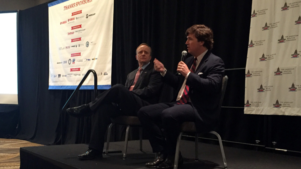 Paul Begala (left) a CNN commentator and political analyst, and Tucker Carlson, co-host of Fox & Friends Weekend, shared the stage as keynote speakers at ABC.