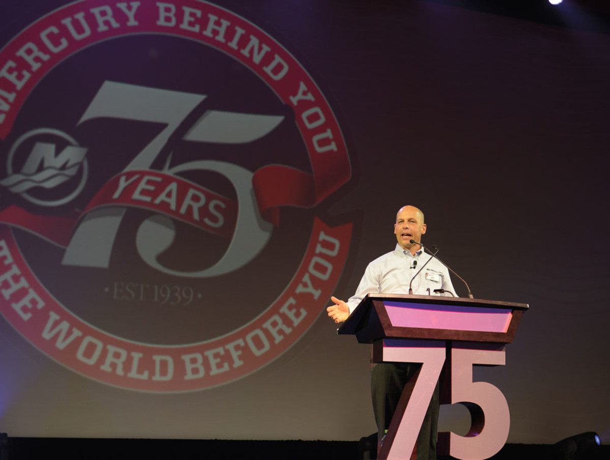 Mercury Marine president John Pfeifer welcomes representatives of 600 dealerships worldwide.