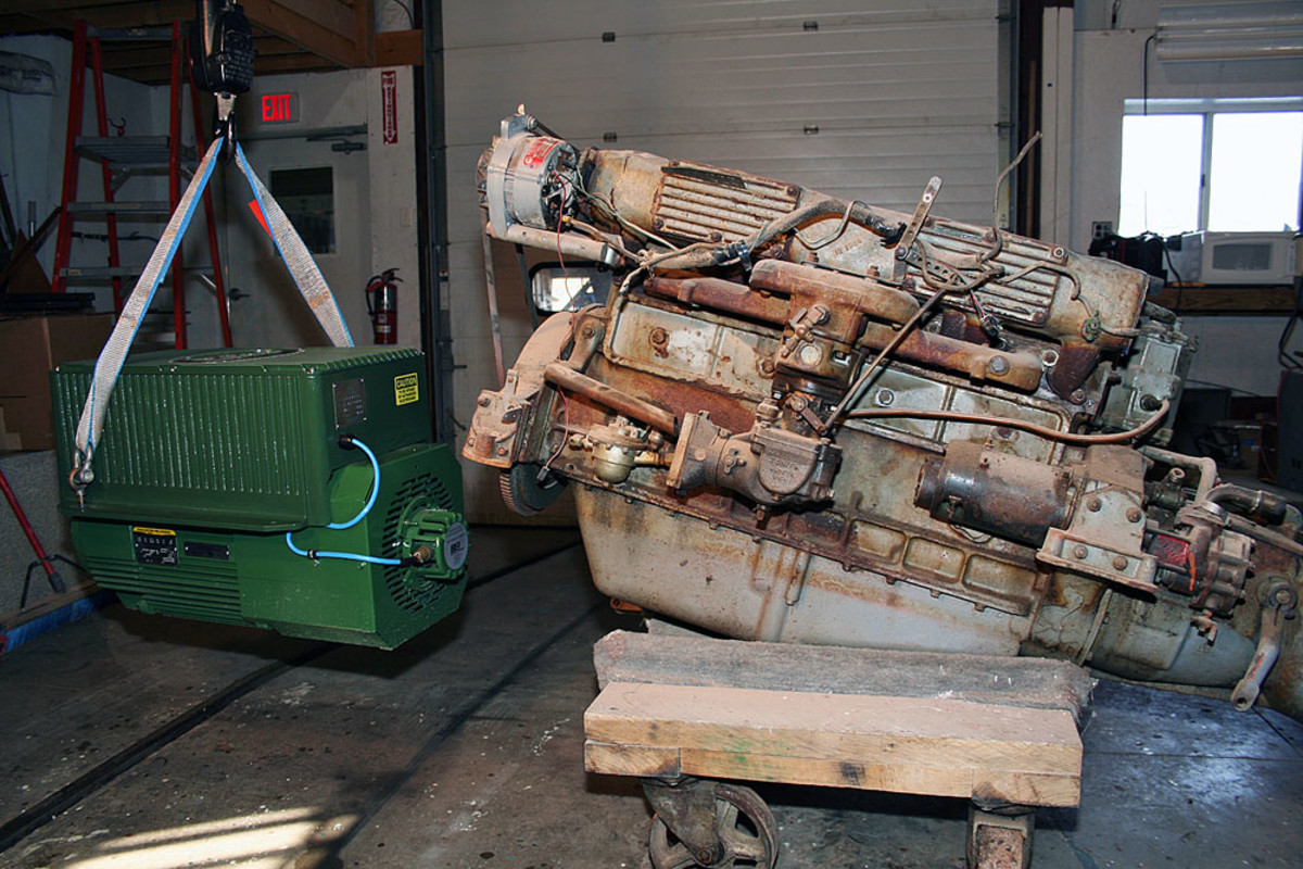 The repowering market remains a mainstay of Elco's business model. Here an old diesel is swapped out for a new Elco electric motor.