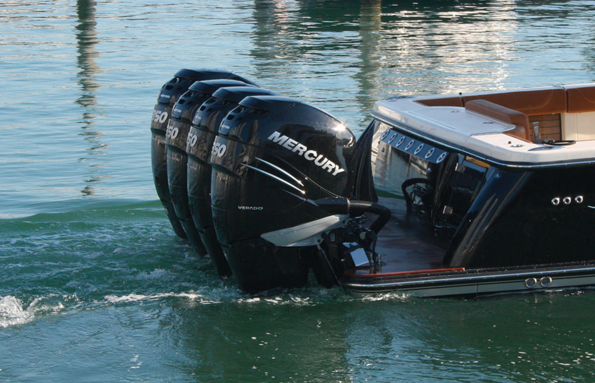 The new Verado outboards were kept busy in sea trials during the show in Miami.