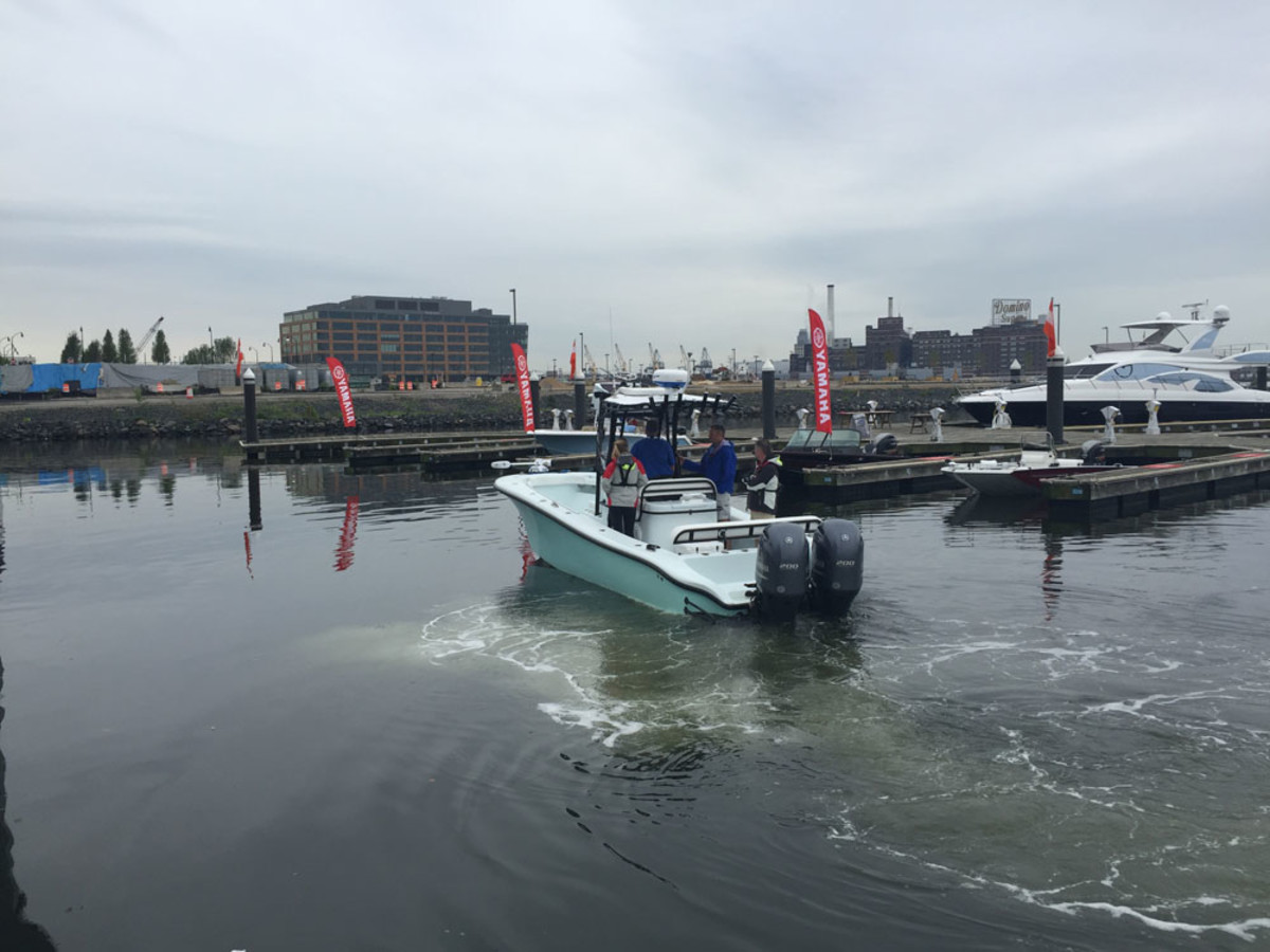 Journalists gathered in Baltimore's Inner Harbor to test new Yamaha engines, propellers and the Helm Master system with joystick.