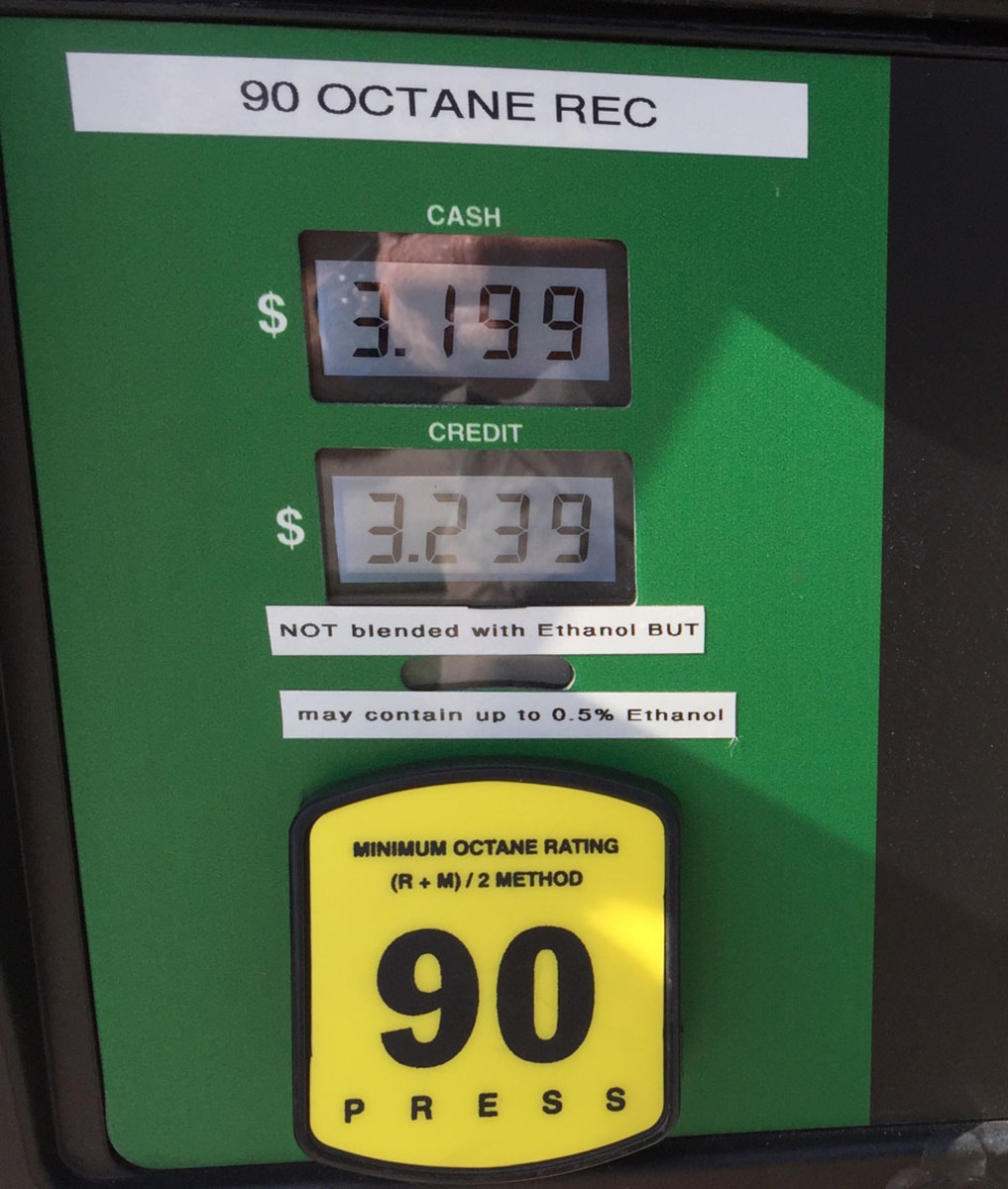 A label between the price and octane level at this pump tells consumers the fuel is not blended with ethanol.