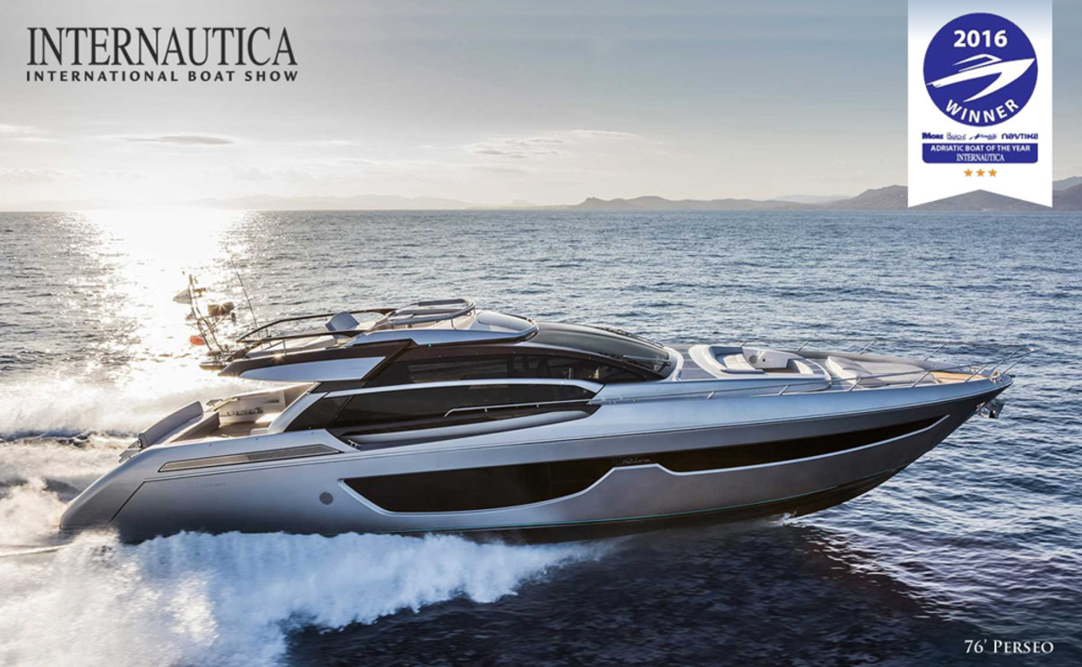 The Riva 76 Perseo was named Adriatic Boat of the Year at the Internautica show in Slovenia.