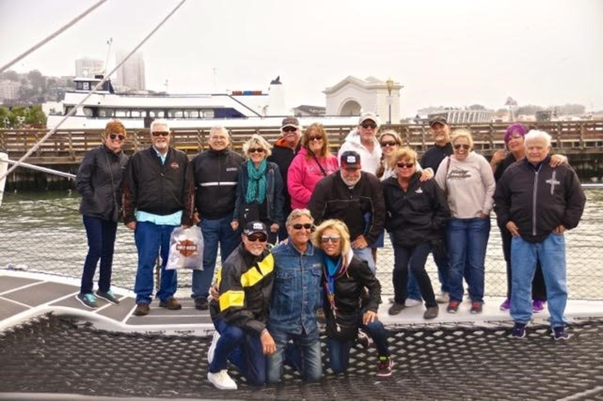 "Title sponsor Freedom Boat Club hosted the grand finale ""Sunset Sailabration"" for Pacific Rush Riders aboard an Adventure Cat on San Francisco Bay. Photo by Jim Krueger."