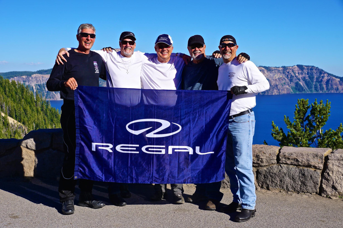 The biker boys of Regal Boats proudly show their colors.