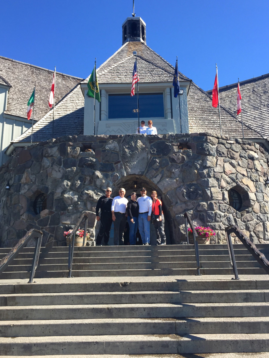 The Hull of a Tour riders' first stop on Monday was at Timberline Lodge on Mount Hood.