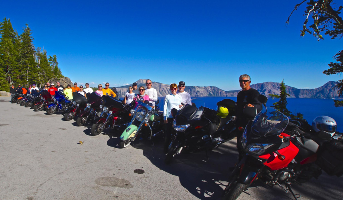 Crater Lake, Ore., was a highlight for Pacific Coast Riders. Photo by Jim Krueger