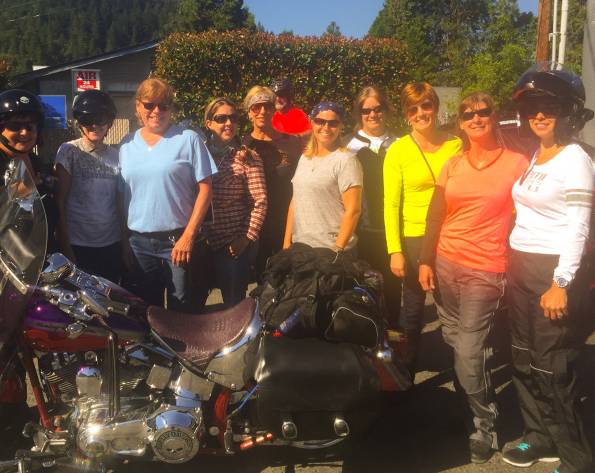 Women from the Hull of a Tour group are shown at a rest stop en route to Crescent City, Calif.