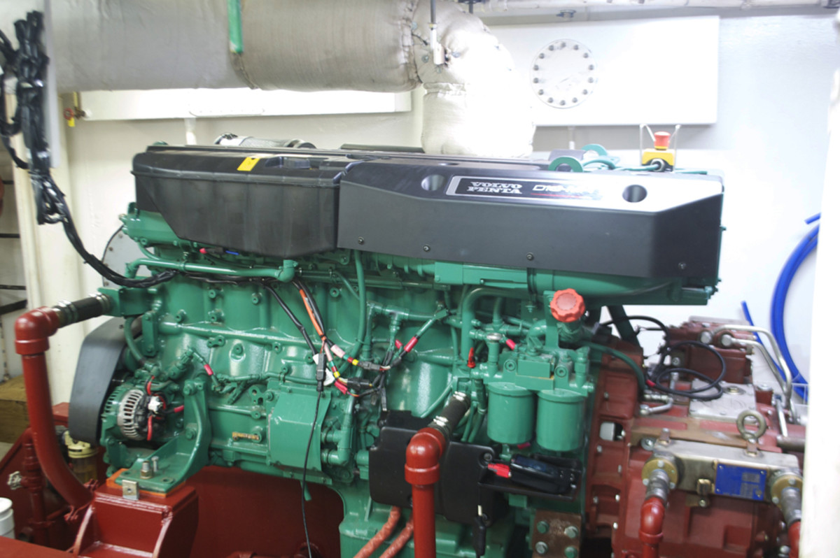 The original 1980s-era diesels on Palmetto were replaced by a pair of new Volvo Penta D16 MH600 Tier 3 engines with ZF W650 gears. Photo by Ryan Collins.