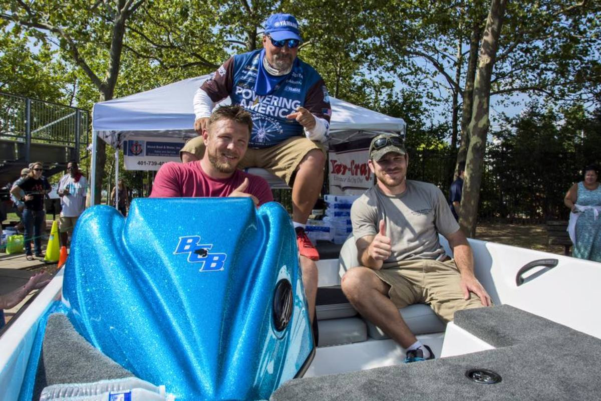 These men won the 2016 Margay boat and trailer that Bass Cat donated to the inaugural Ike Celebrity Pro-Am Bass Fishing Tournament.
