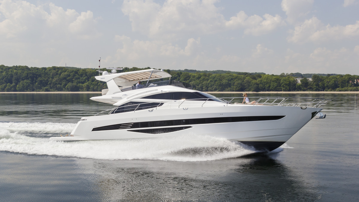 The Galeon 660 Fly is powered by twin MAN V8 marine diesels producing 1,200 hp each and can reach speeds in excess of 30 knots.