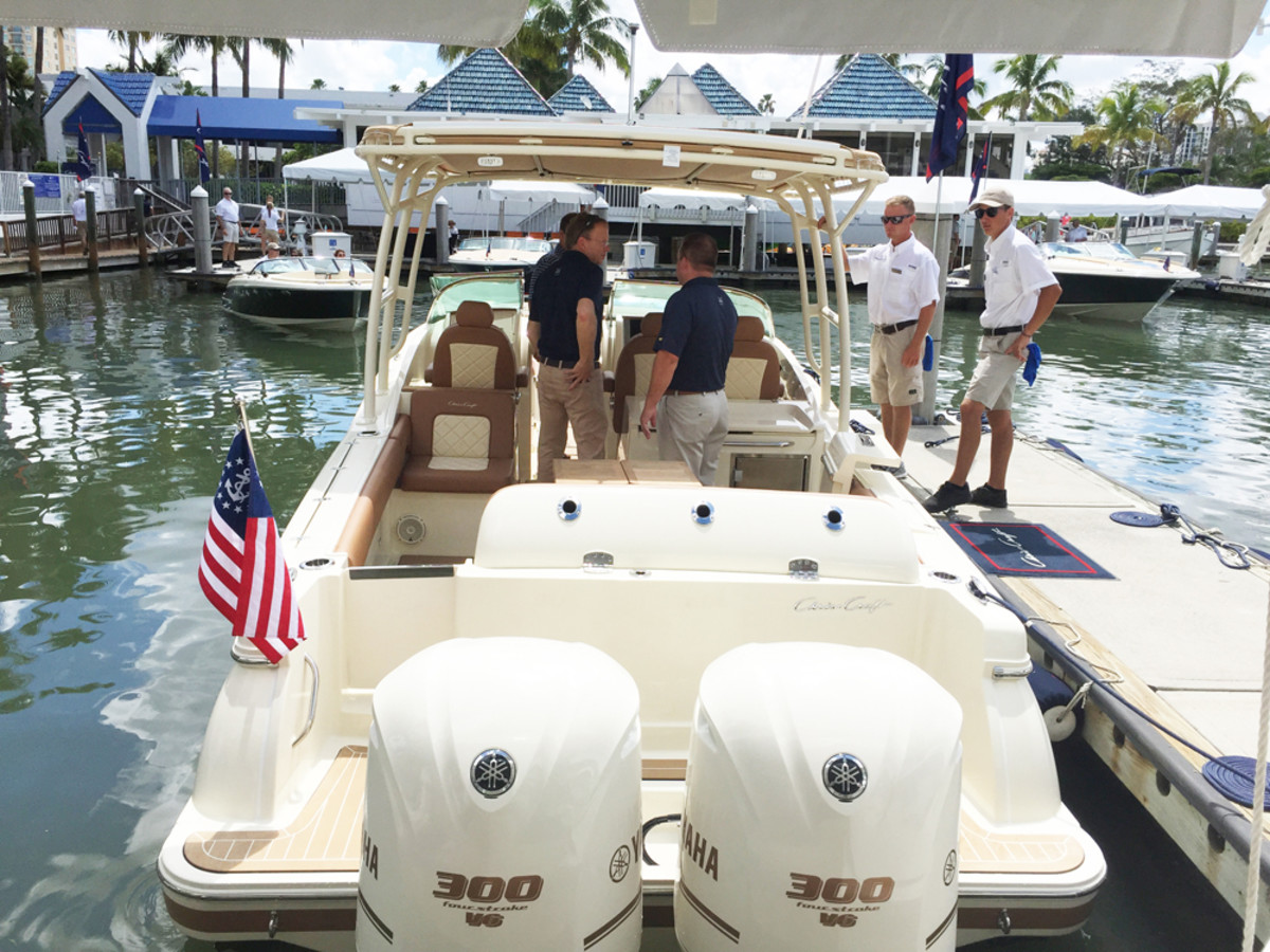 The new Calypso 30 dual console made a surprise appearance at the event, which ran from Friday through Sunday. Eleven boats were in the water. About 150 people from dealerships in the United States and internationally attended.