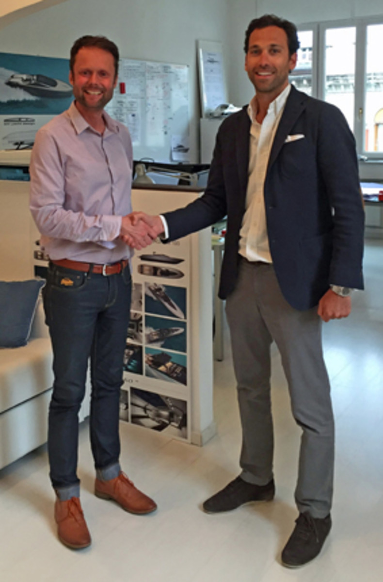 Fairline Yachts design leader Andrew Pope (left) and Alberto Mancini, of Alberto Mancini Yacht Design, are shown at Mancini's design studio in Trieste, Italy.