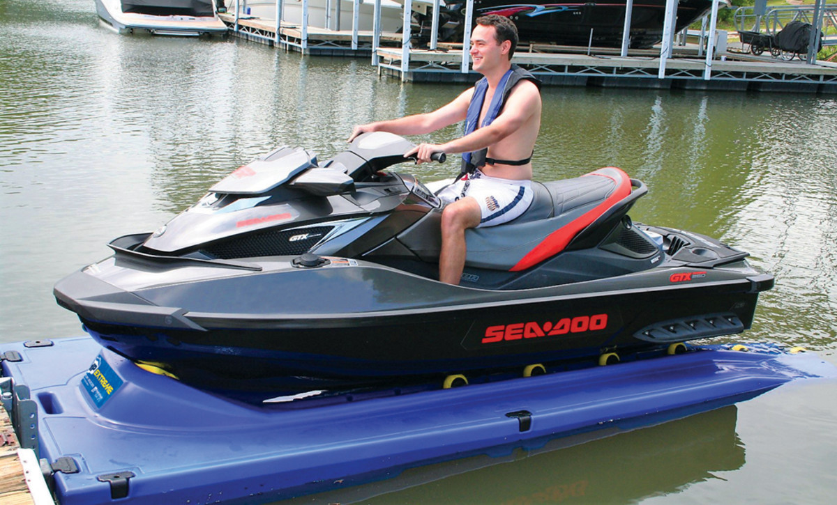 HydroHoist's new docking platform for personal watercraft has flat, anti-skid walking surfaces and a bow stop.
