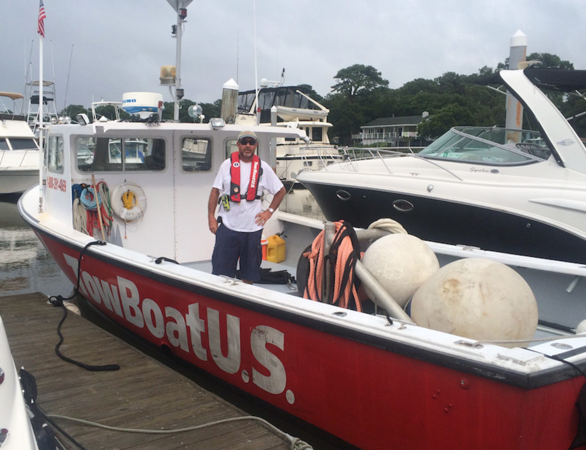 Capt. Donald Duck is shown aboard his TowBoatUS response boat.