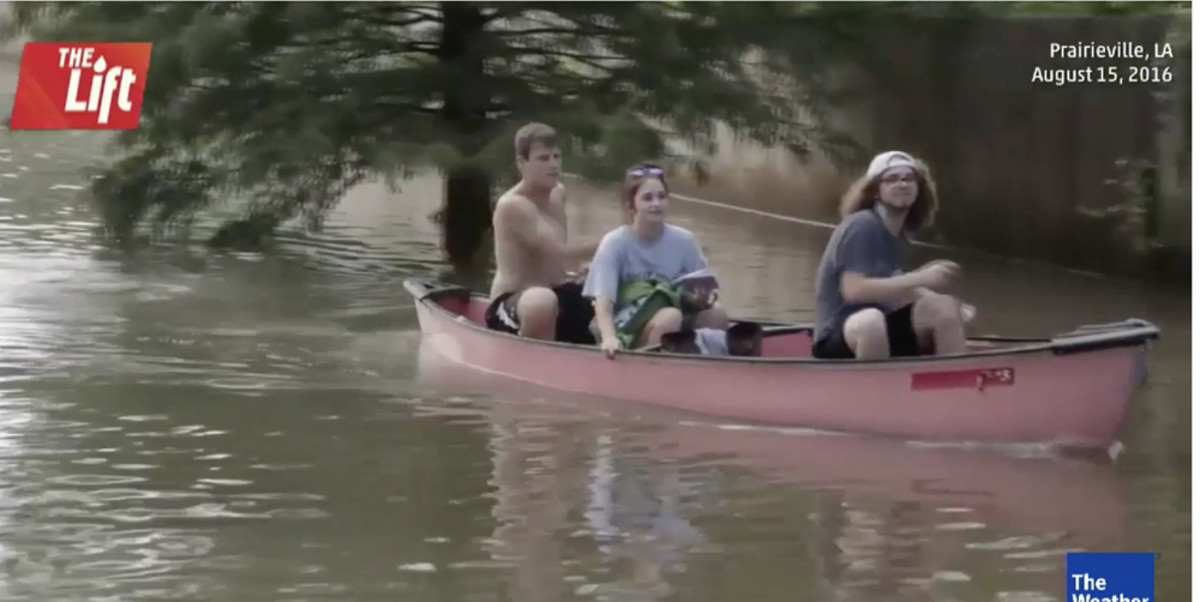 The Weather Channel shot footage of boat rescues and people traveling roads by canoe in Louisiana on Monday.