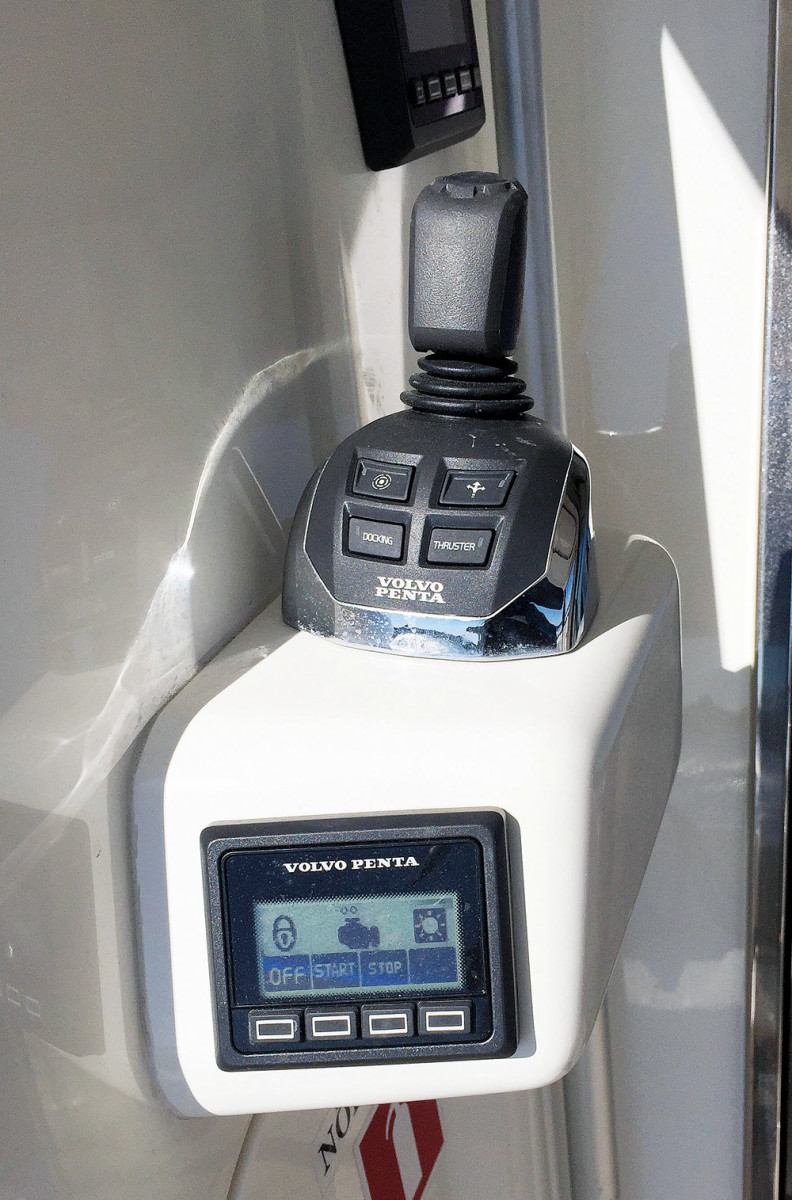 Volvo Penta also debuted its joystick steering for shaft-drive inboards and a battery management system. A cockpit steering station with Joystick Inboard and  a battery management display are shown here.