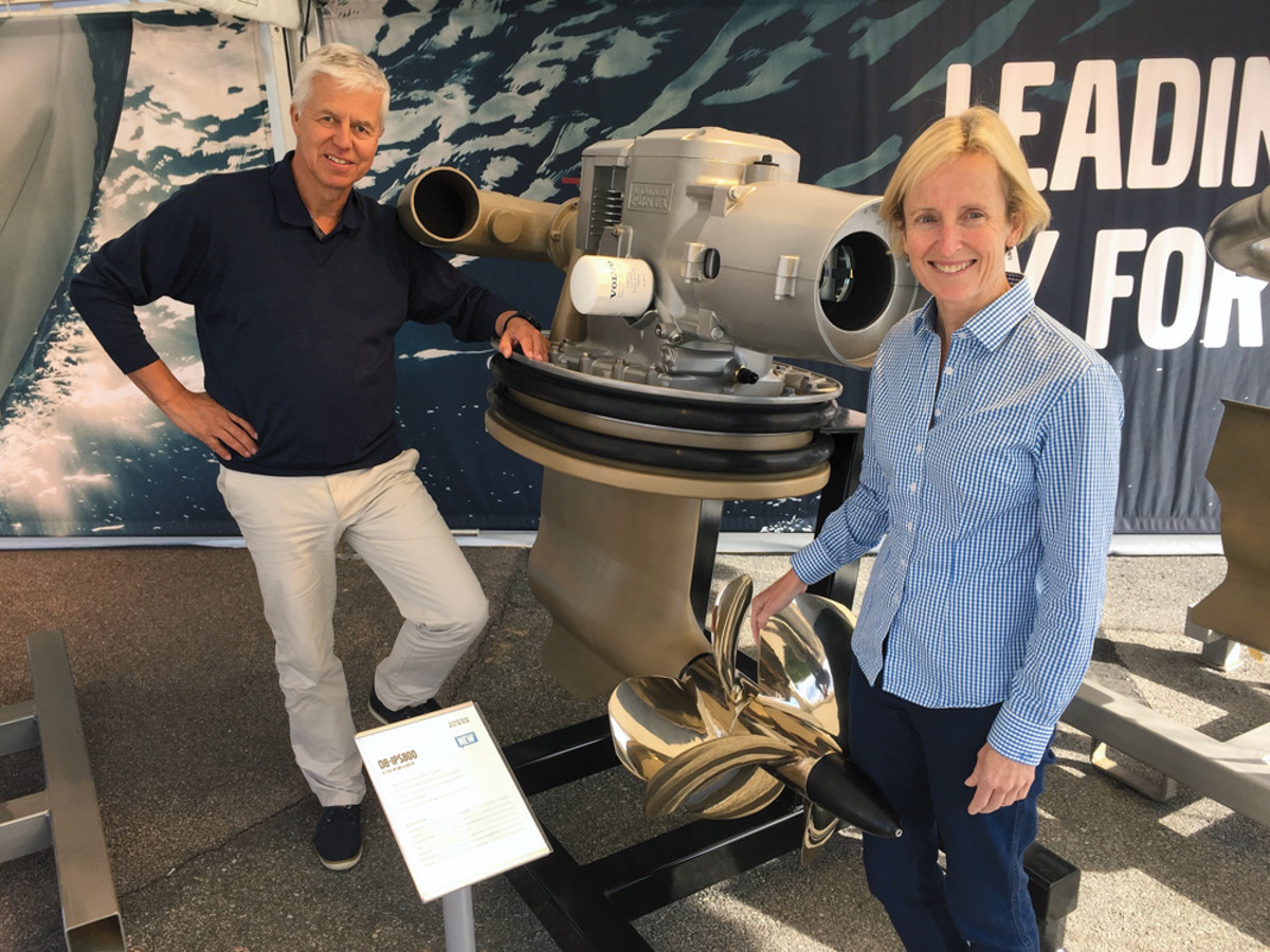 Stefan Carlsson, senior vice president of Volvo Penta's marine diesel segment, and Marcia Kull, vice president of sales for Volvo Penta of the Americas, were part of a team that introduced the new D8-IPS800 in Sweden.