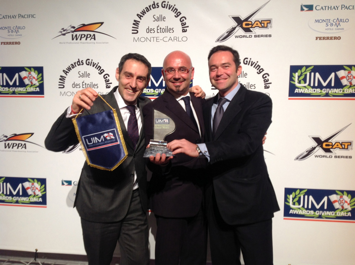 Azimut Benetti Group marketing director Francesco Ansalone (left), safety manager Massimo Guzzo and press office manager Giovanni Bogetto are shown at the UIM Environmental Award 2013 on Saturday in Monaco.