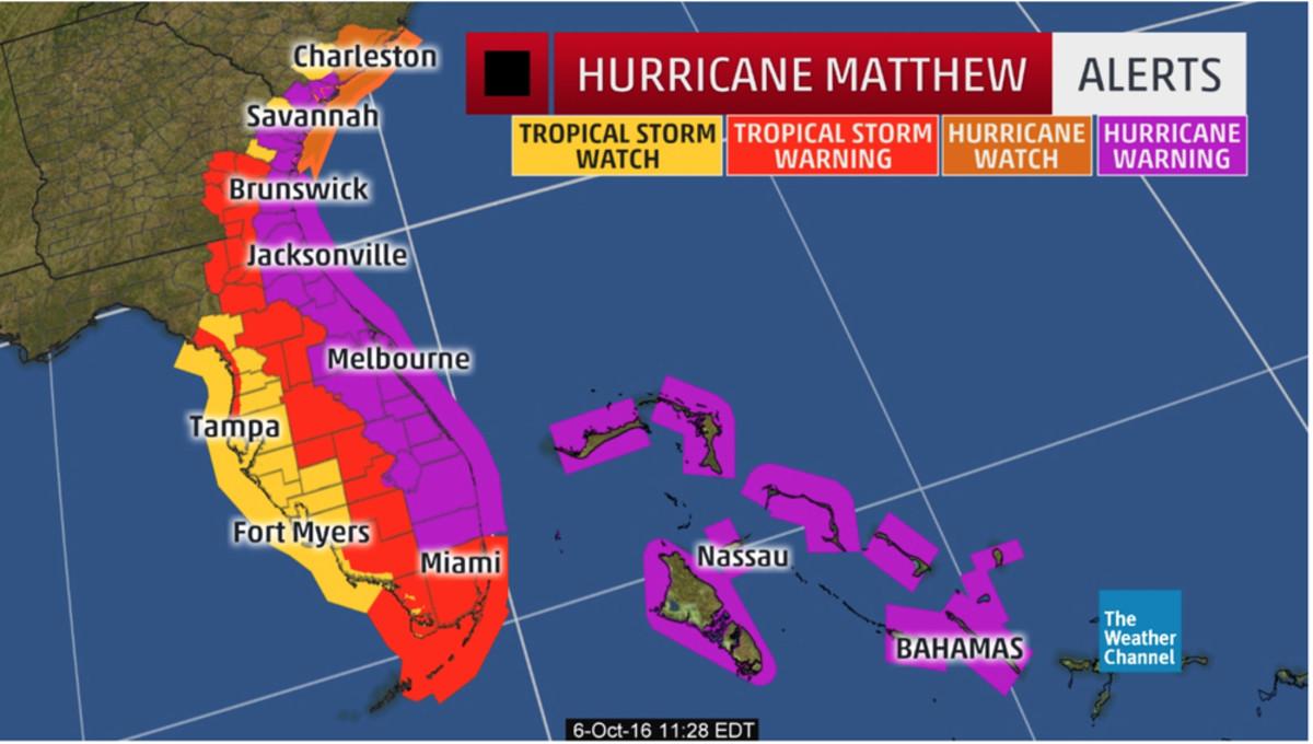 Hurricane Matthew is threatening Florida's east coast.