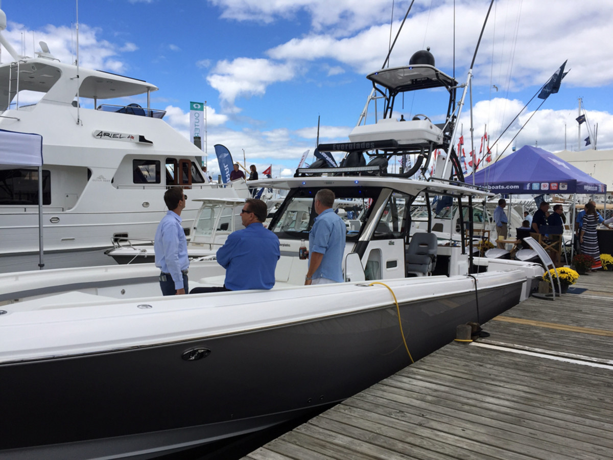 The new Everglades 435 CC was one of several boats that debuted at the Newport show.