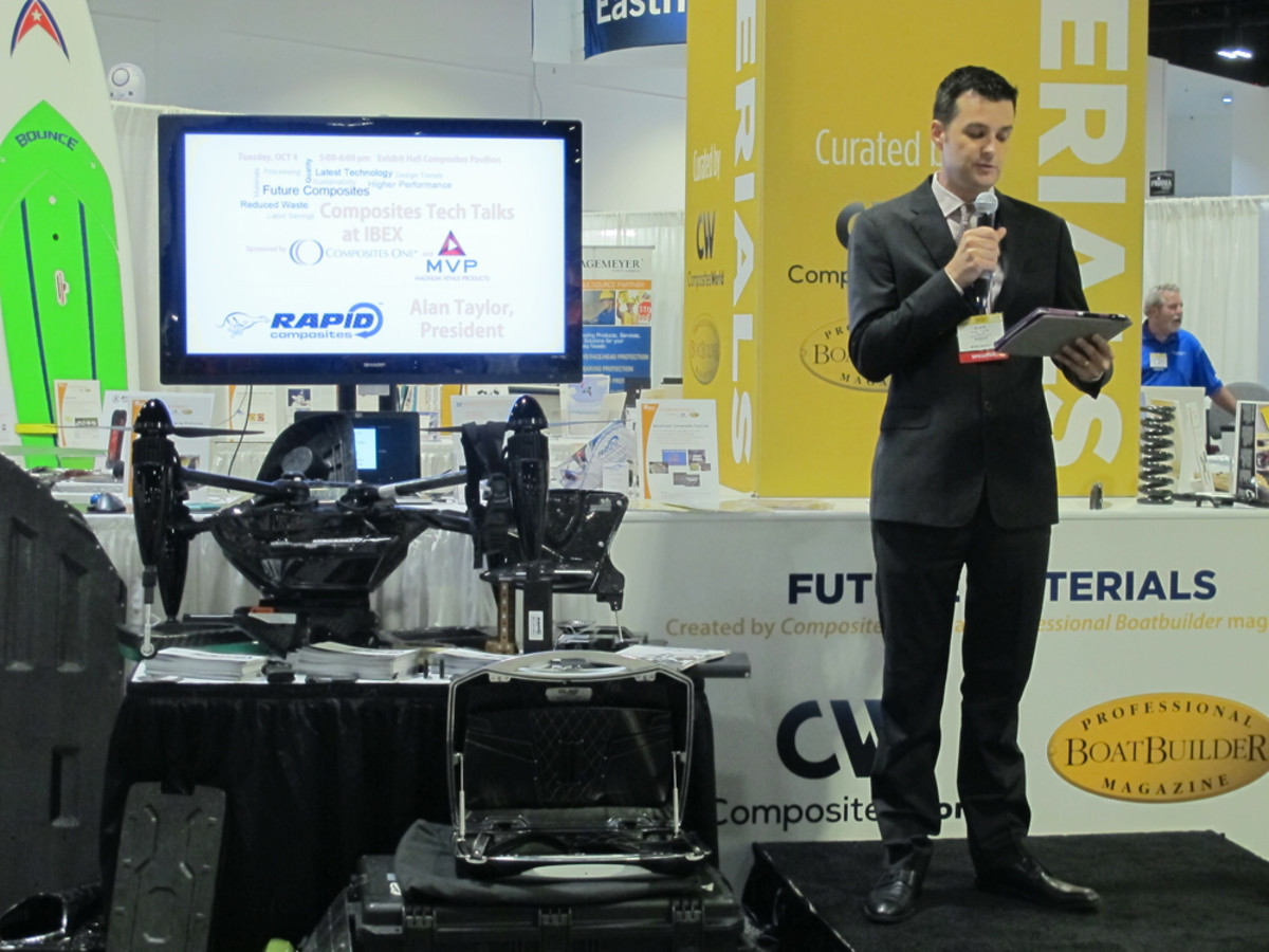 Rapid Composites president Alan Taylor speaks during his Tech Talk in the Future Materials area of the Composites Pavilion.
