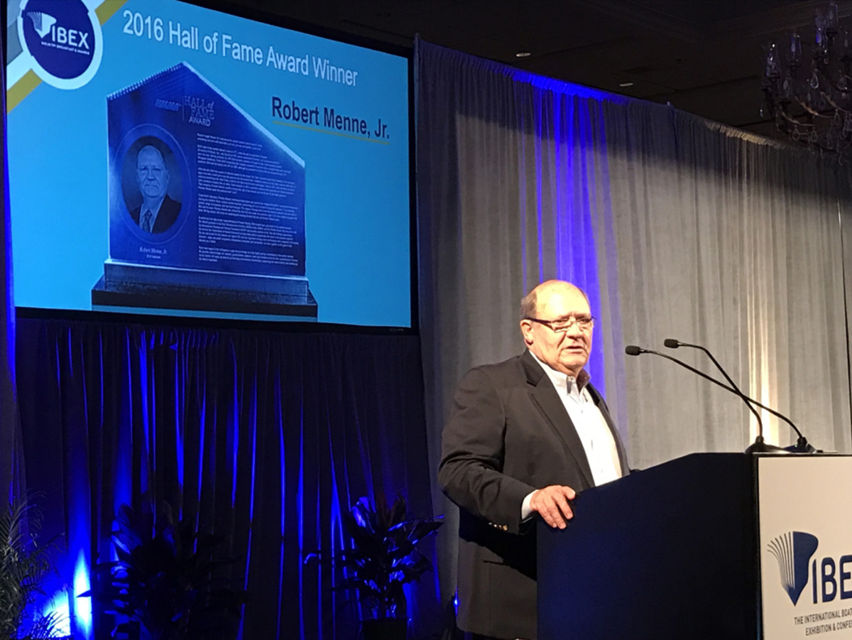 Premier Marine CEO Bob Menne Jr. was inducted Tuesday into the NMMA Hall of Fame.