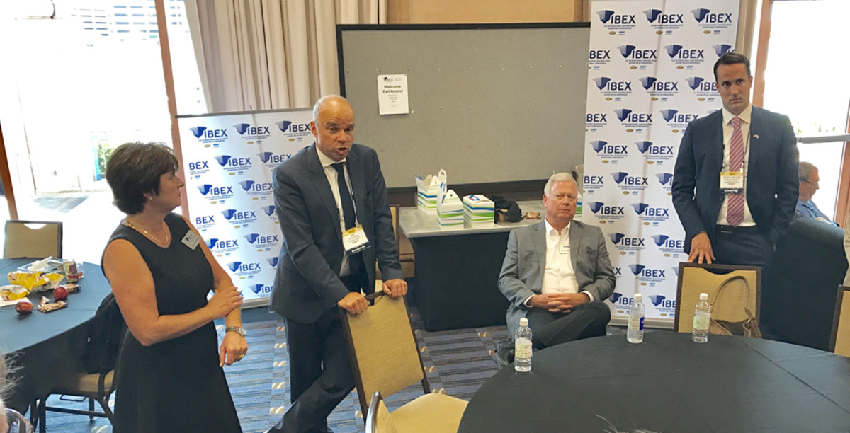 IBEX show director Anne Dunbar (left), Ids Boersma, director and executive vice president of RAI Exhibitions, Thom Dammrich, president of the National Marine Manufacturers Association, and Rens-Jan van Vliet, the METS product manager, who also will become the IBEX global sales and marketing manager, are shown at a press conference Tuesday at IBEX in Tampa.