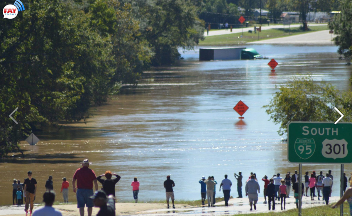 Fayetteville Today Community News showed flooding Sunday on Highway 301.