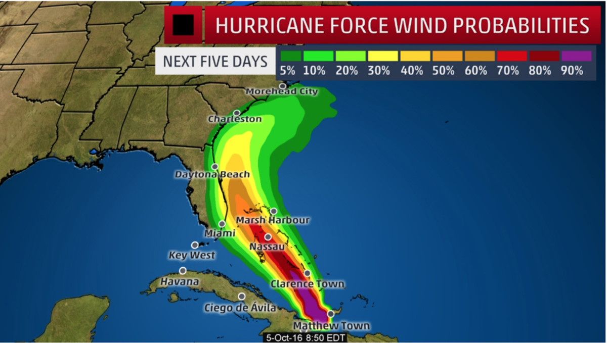 Hurricane-force wind probabilities are shown in a graphic by The Weather Channel.