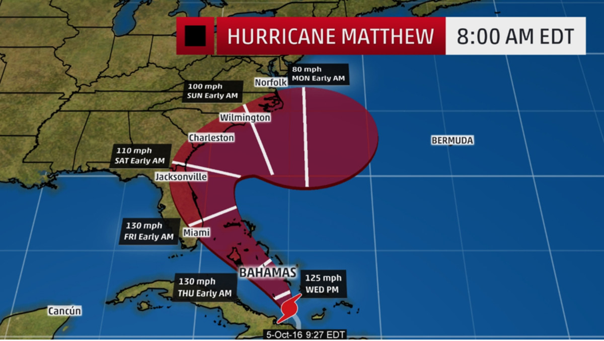 The red-shaded area on this graphic from The Weather Channel denotes the potential path of the center of the tropical cyclone. Storm impacts — particularly heavy rain, high surf, coastal flooding — with any tropical cyclone may spread beyond its forecast path.