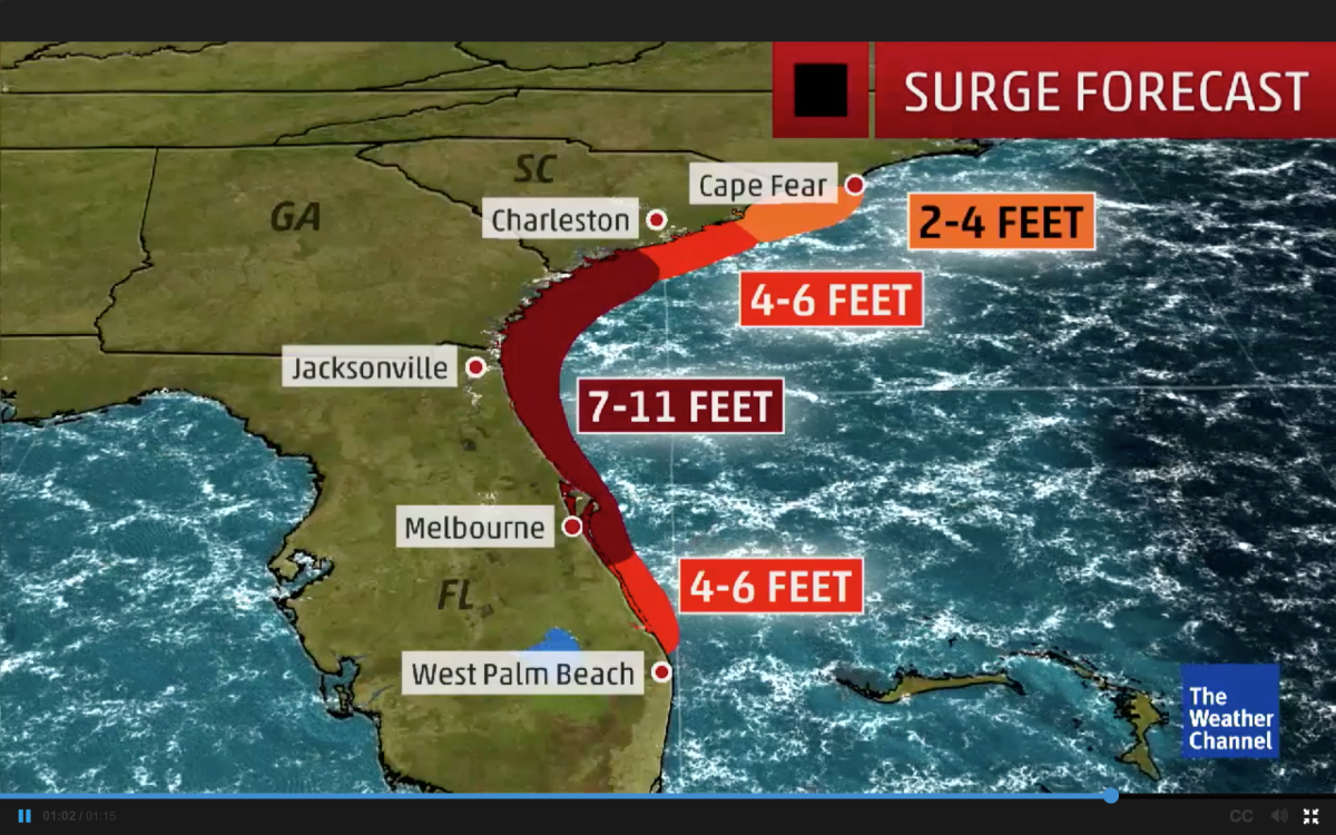 This forecast surge graphic by The National Weather Channel has yet to be updated with new National Hurricane Center information that predicted the storm will make landfall in South Carolina.