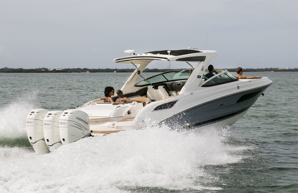 Sea Ray's first boat with triple outboards, the SLX 350 Outboard, will be introduced in Fort Lauderdale.