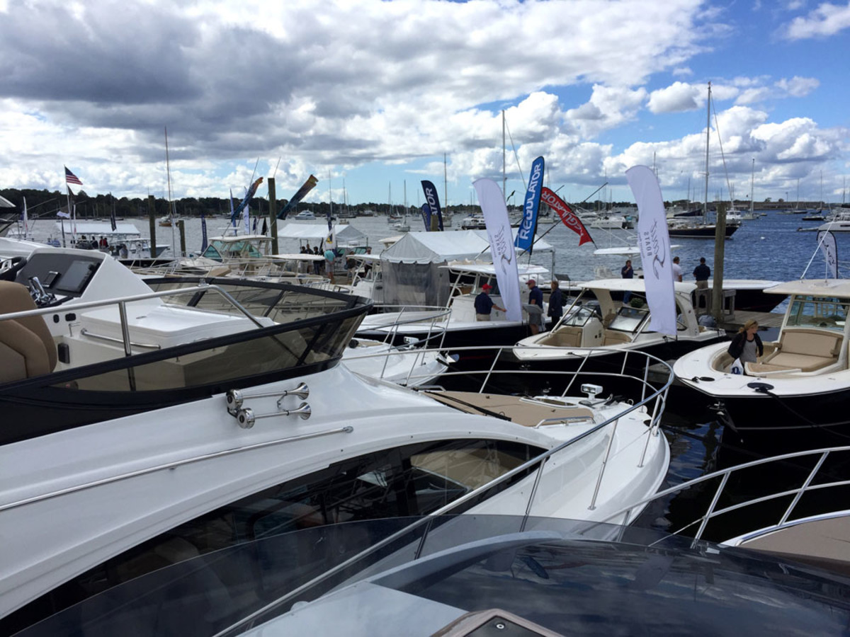 Serious buyers and current boat owners turned out on Thursday, the first day of the 46th annual Newport International Boat Show.