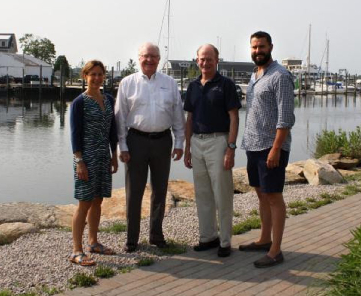 (From left) Whitney Peterson, vice president of marketing for Gowrie Group; Steve Prime, vice president of Gowrie Group; Spike Lobdell, president of the New England Science and Sailing Foundation; Dan Meiser, co-owner of the Mystic Oyster Club.