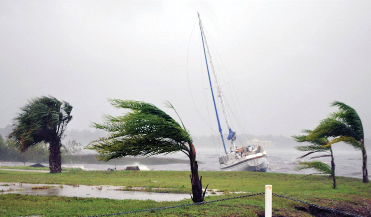 High winds from Hurricane Matthew pushed this sailboat aground on the St. Johns River in Florida.