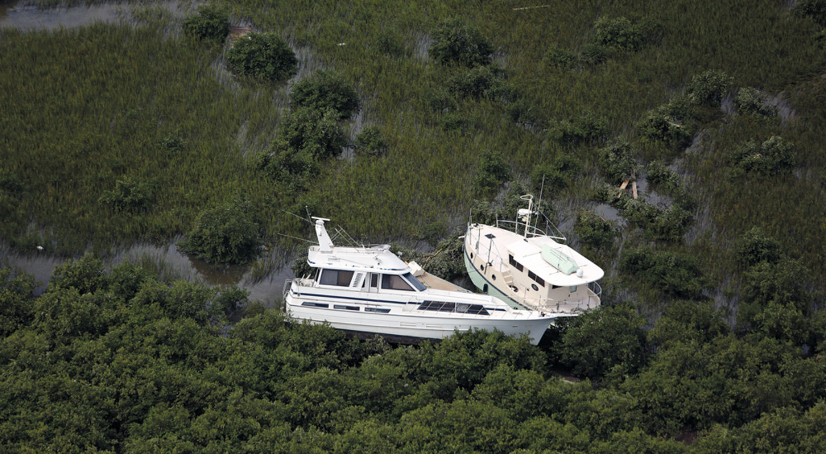 Two boats can be seen in foliage near St. Augustine, most likely deposited there from Hurricane Matthew.