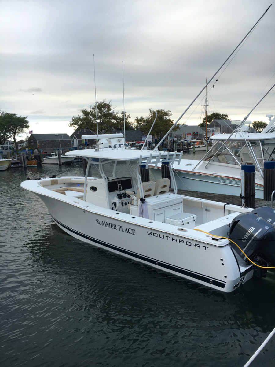 The winning boat, Rob Miller's Southport 33 FE Summer Place, is shown tied up at the Nantucket Boat Basin after catching and releasing 72 striped bass on day one of the inaugural Nantucket Classic. Teams fished for striped bass, bluefish, false albacore and bonito.