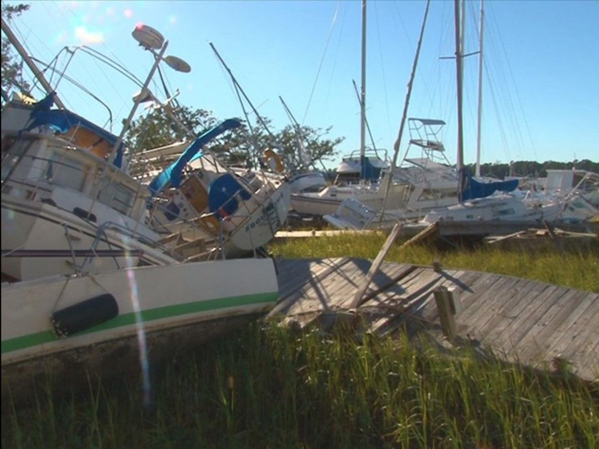 Palmetto Bay Marina in South Carolina took a major hit from Hurricane Matthew, local CBS affiliate WLTX19 reported.
