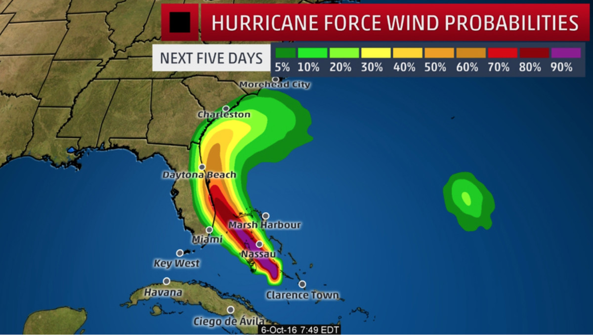 A graphic from The National Weather Service depicts Matthew's hurricane-force wind potential.