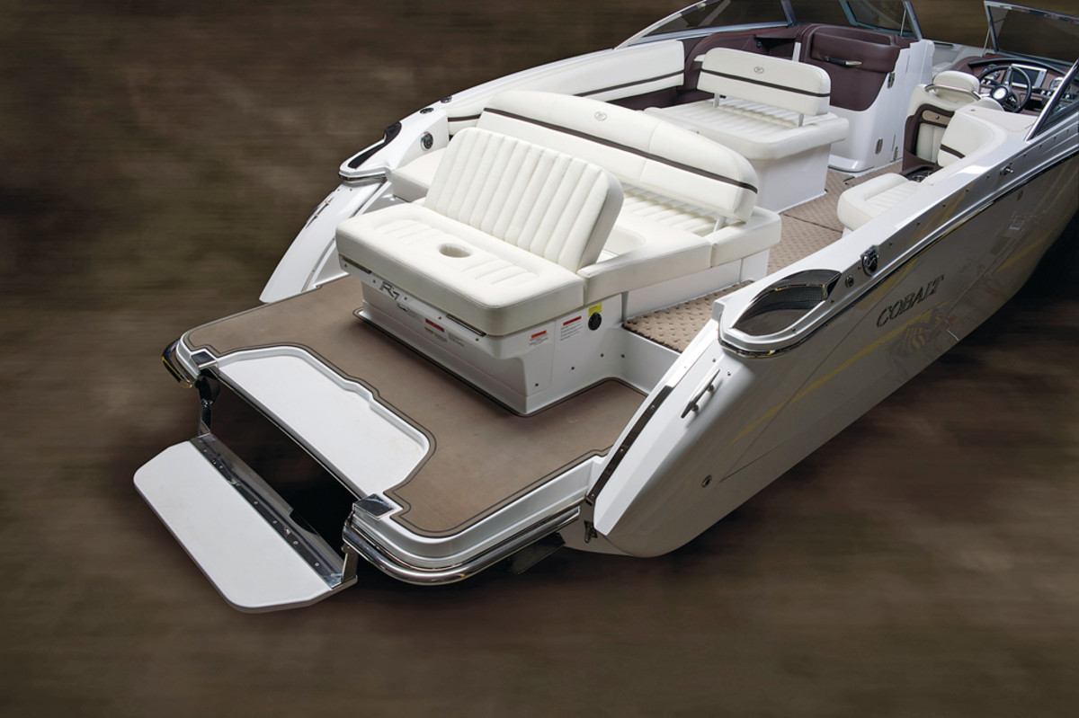 Cobalt Boats began to offer a swim step on some of its models in 2011. The builder said the swim step is easily flipped from a stored position within the aft swim platform of a boat to a deployed position below the water surface.