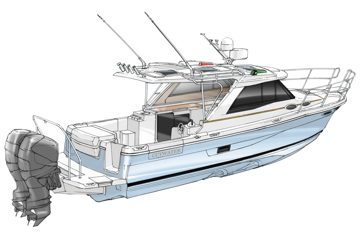 The Cutwater 30 Sport Coupe, also set to debut in Fort Lauderdale, will be the first Cutwater with twin outboards.
