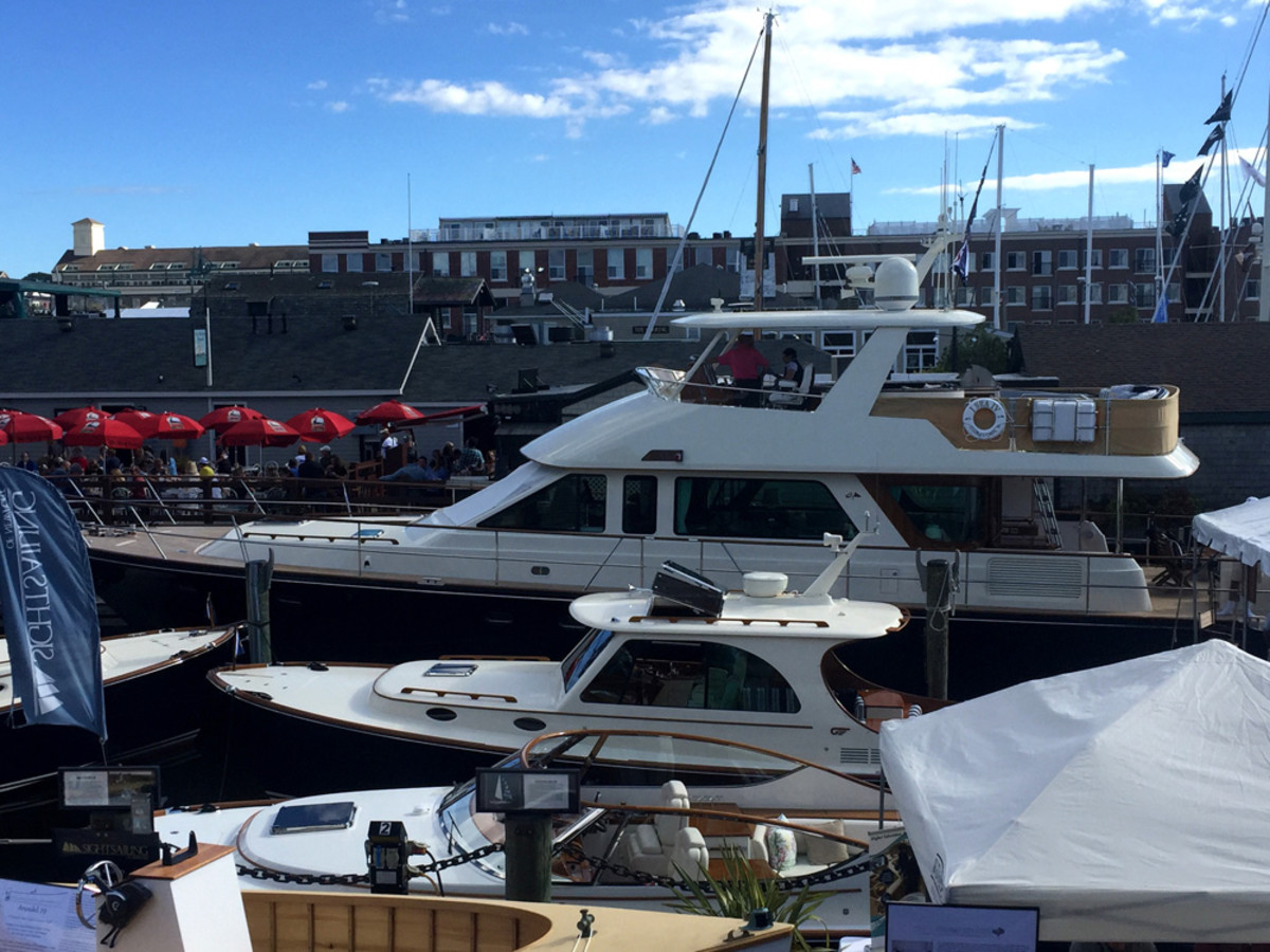 The Hunt 72 (third from front) was named Best Powerboat Overall at the Newport International Boat Show.