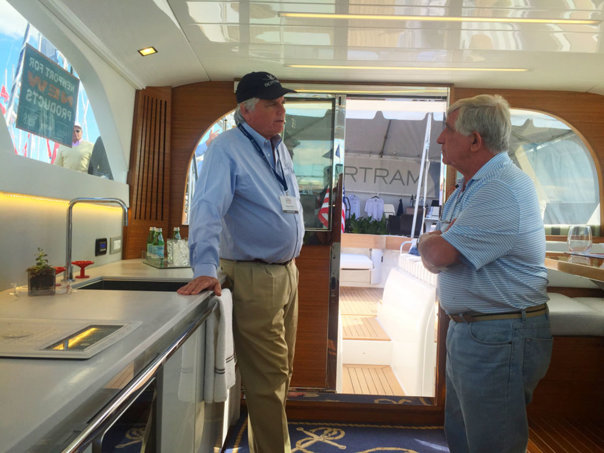 Morgan Bertram (left), the son of the iconic brand's founder, spent time discussing details of the new 35 with the many enthusiasts who came to the show specifically to see the boat make its world debut.