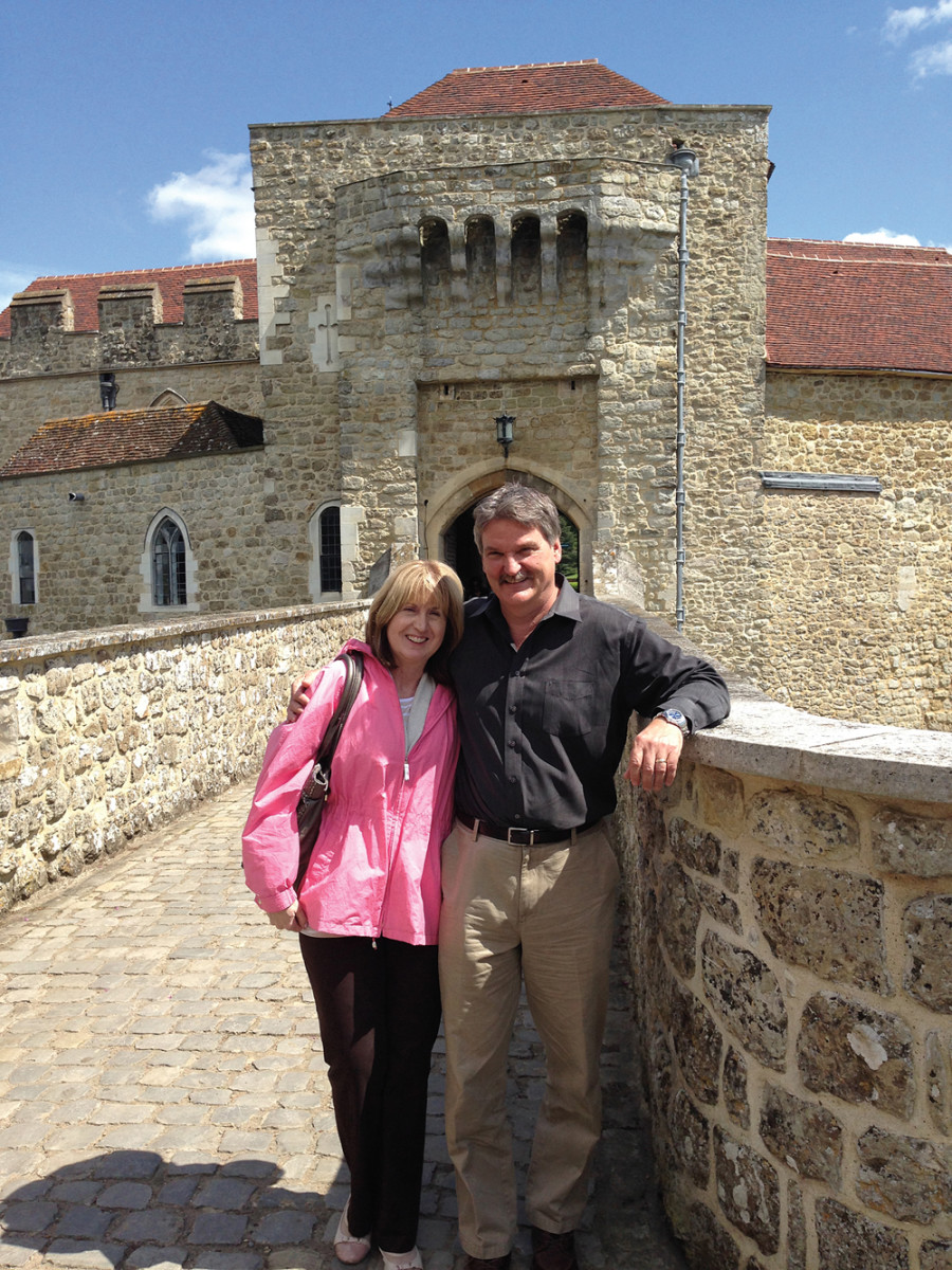 McKnight and his wife, Dawn, enjoy a vacation in England. They're shown standing in front of Leeds Castle in Kent.