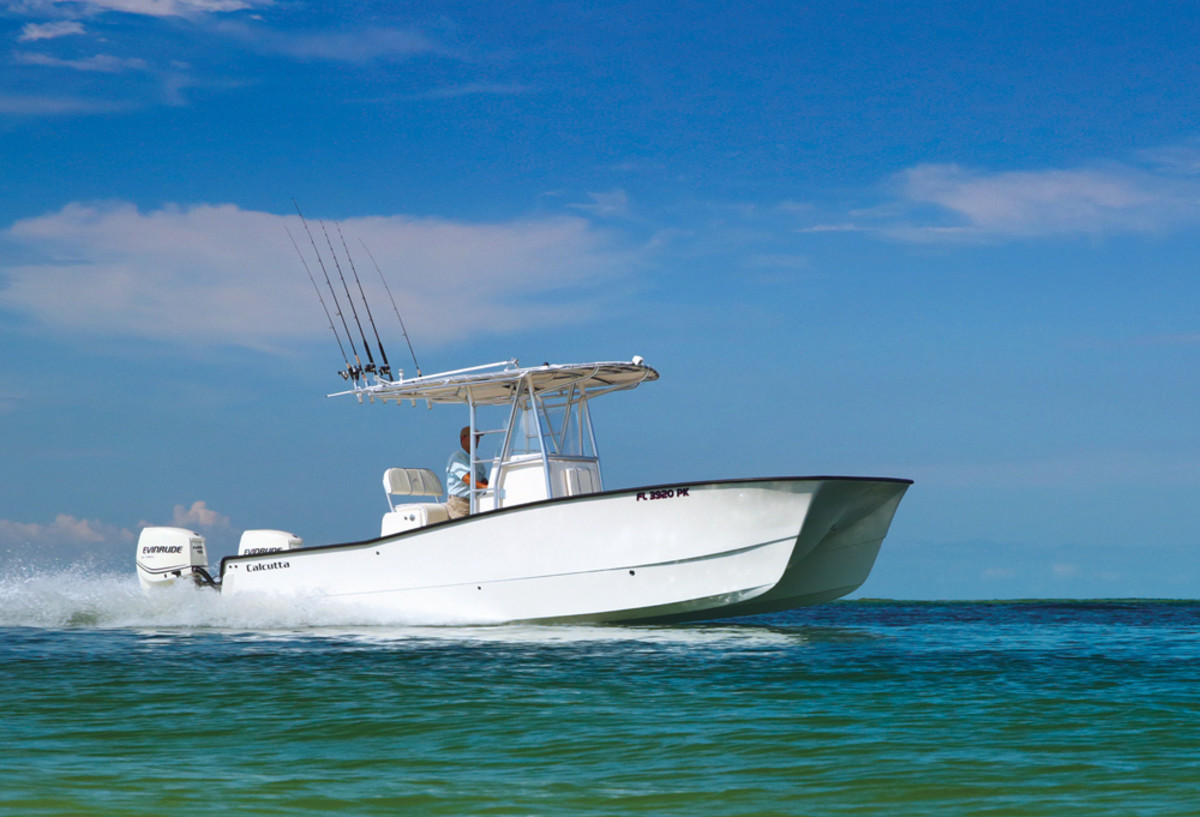 The Calcutta 263 is the company's bread-and-butter boat — a twin-outboard center console cat first built in the late 1990s.